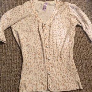 Cream and tan cheetah print half sleeve cardigan